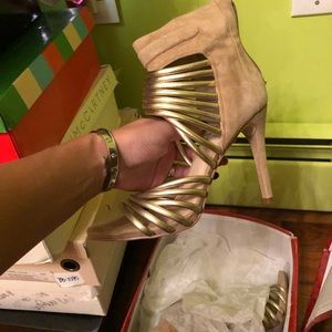 Leather- suede heeled sandals